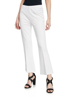 Neiman Marcus Cropped Flare Stretch Pants