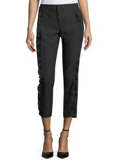 Cropped Ruffle-Trimmed Pants