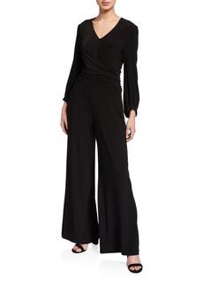 Neiman Marcus Cross-Front Wide-Leg Jumpsuit
