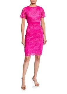 Neiman Marcus Delora Lace Sheath Dress