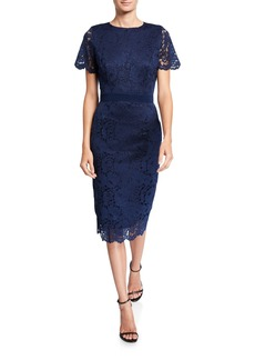 Neiman Marcus Delora Lace Sheath Dress