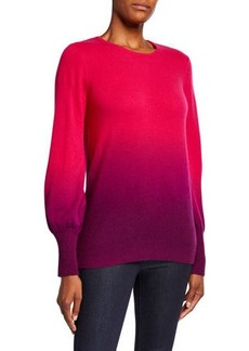 Neiman Marcus Dip Dye Crewneck Balloon-Sleeve Cashmere Sweater