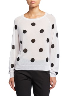 Neiman Marcus Dotted Jacquard Sweater