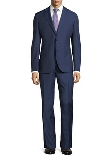 Neiman Marcus Dotted Wool Two-Piece Suit  Navy
