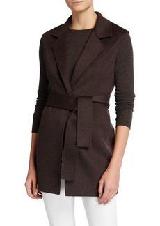 Neiman Marcus Double Face Cashmere Belted Notch Collar Vest
