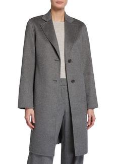 Neiman Marcus Double Face Cashmere Notch Collar Button-Front Coat