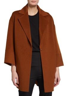 Neiman Marcus Double-Face Cashmere Notch-Collar Top Coat