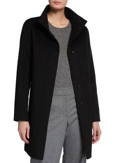 Neiman Marcus Double-Face Cashmere Portrait-Collar Snap-Front Coat