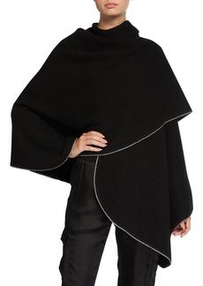 Neiman Marcus Double Knit Cashmere Shawl w/ Metallic Trim