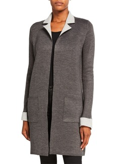 Neiman Marcus Double Knit Open-Front Cardigan