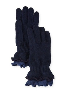 Neiman Marcus Double-Ruffled Wool-Blend Gloves