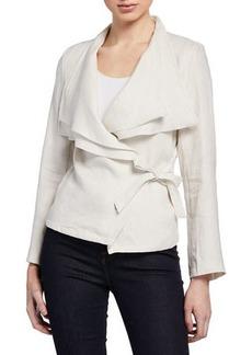 Neiman Marcus Draped Tie-Front Linen Wrap Jacket