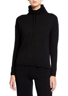 Neiman Marcus Drawstring Funnel-Neck Cashmere Sweater
