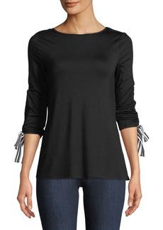 Neiman Marcus Drawstring-Sleeve Jersey Tee