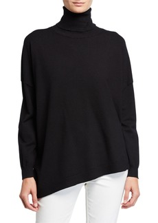 Neiman Marcus Easy Turtleneck Asymmetric Tunic