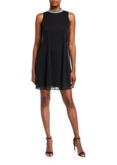 Neiman Marcus Embellished Mock-Neck Shift Dress