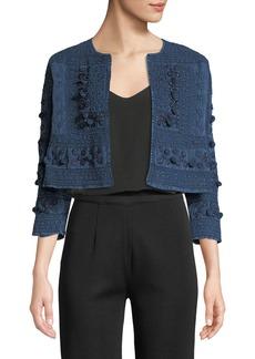 Neiman Marcus Embellished Open-Front Shrug Jacket