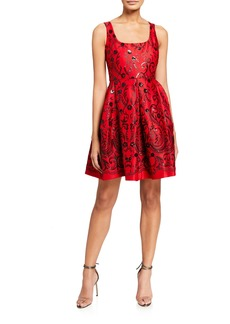 Neiman Marcus Embellished Sequins Fit And Flare Dress