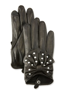 Neiman Marcus Embellished Short Leather Tech Gloves