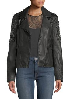 Neiman Marcus Embellished-Sleeve Leather Moto Jacket
