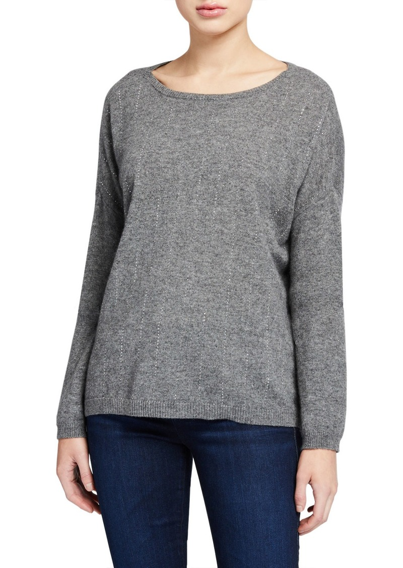 Neiman Marcus Embellished Stripe Bateau-Neck Cashmere Sweater