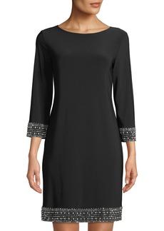Neiman Marcus Embellished-Trim Jersey Sheath Dress