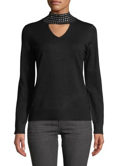Neiman Marcus Embellished Turtleneck Cutout Pullover Sweater