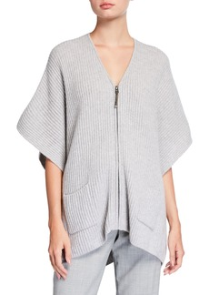 Neiman Marcus Embellished Zipper-Pull Cashmere Poncho