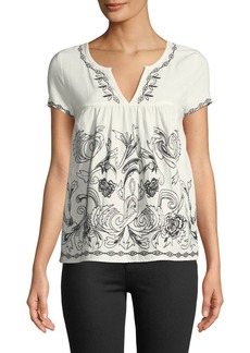Neiman Marcus Embroidered Babydoll Blouse