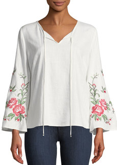 Neiman Marcus Embroidered Bell-Sleeve Blouse