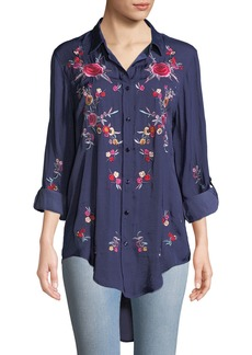 Neiman Marcus Embroidered Button Front Tunic