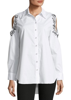 Neiman Marcus Embroidered Cold-Shoulder Blouse