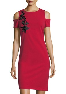 Neiman Marcus Embroidered Cold-Shoulder Sheath Dress