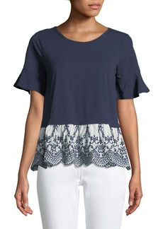 Neiman Marcus Embroidered-Hem Twofer Tee