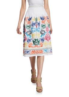 Neiman Marcus Embroidered Linen A-Line Midi Skirt
