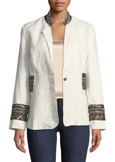 Neiman Marcus Embroidered Linen Blazer
