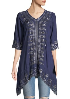 Neiman Marcus Embroidered Sharkbite Tunic