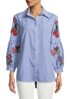 Neiman Marcus Embroidered-Sleeve Striped Button-Front Blouse