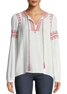 Neiman Marcus Embroidered Tassel-Tie Peasant Blouse