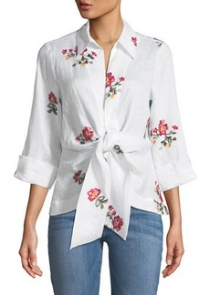 Neiman Marcus Embroidered Tie-Front Linen Blouse