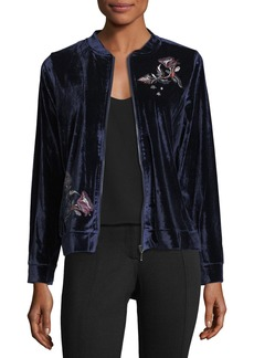 Neiman Marcus Embroidered Velvet Bomber Jacket