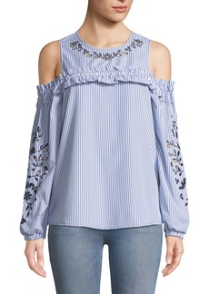 Neiman Marcus Eyelet-Embroidered Cold-Shoulder Blouse