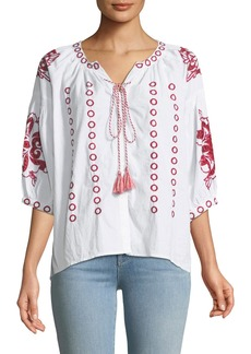 Neiman Marcus Eyelet Embroidered Peasant Blouse