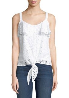 Neiman Marcus Eyelet-Embroidered Tie-Front Blouse
