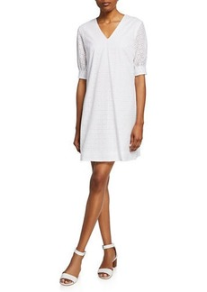 Neiman Marcus Eyelet Sheath Dress w/ Three-Quarter Sleeves