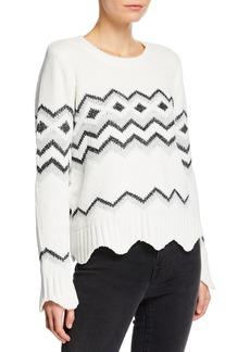 Neiman Marcus Fair-Isle Chenille Metallic Chevron Sweater