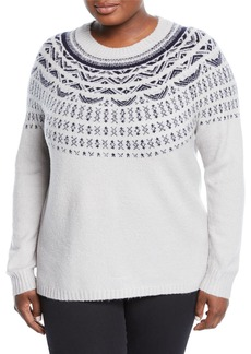 Neiman Marcus Fair Isle Knit Pullover Sweater