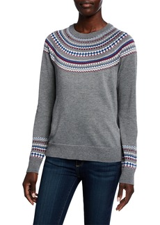Neiman Marcus Fair Isle Knit Sweater