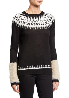 Neiman Marcus Fair Isle Print Sweater