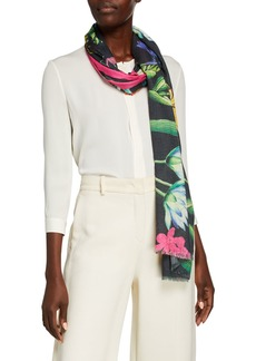 Neiman Marcus Fall Floral Cashmere/Silk Scarf